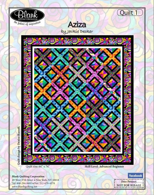 Aziza Quilt Pattern by Denise Russell - Click on RED LINK to Download Pattern in Description Below - Daz Fabrics