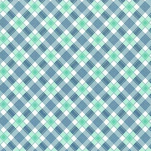 Backyard Blooms by Allison Harris - Plaid Aqua - Y106 - Daz Fabrics