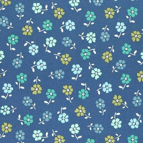 Backyard Blooms by Allison Harris - Tossed Flower Navy - Y108 - Daz Fabrics