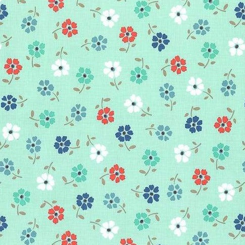 Backyard Blooms by Allison Harris - Tossed Flowers Aqua - Y109 - Daz Fabrics