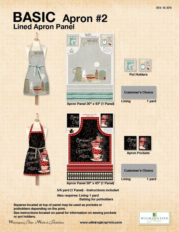 Basic Apron Pattern # 2  - Click on RED LINK in Product Description, below Paypal button,  to receive pattern - Daz Fabrics
