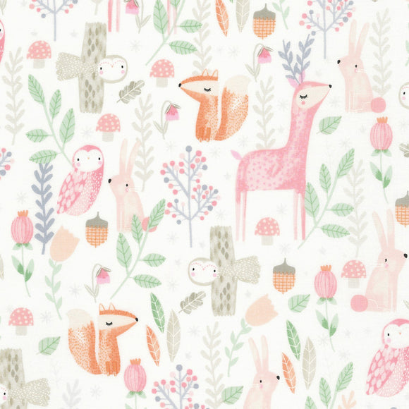 Kidz by Timeless Treasures - Milk Woodland Animal  - Yardage - Daz Fabrics