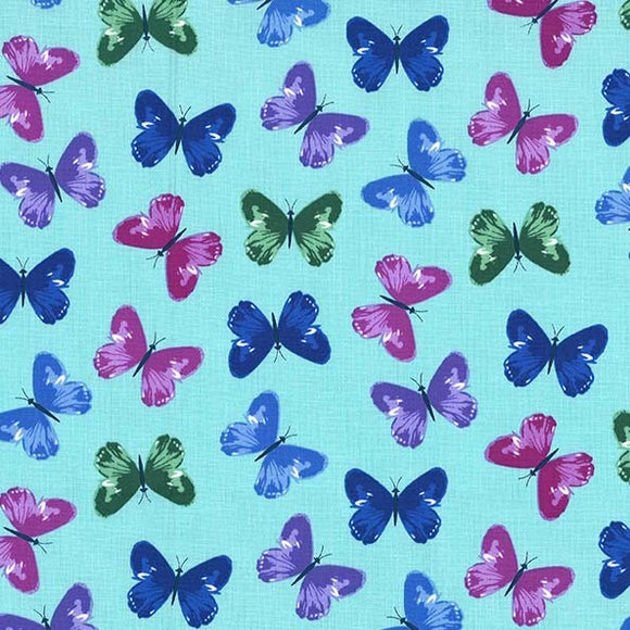 Dilly Dahlia Collection by Michael Miller - Flutter Dance Aqua - Yardage Y2104KFT - Daz Fabrics