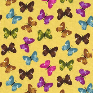 Dilly Dahlia Collection by Michael Miller - Flutter Dance Gold - Yardage - Daz Fabrics