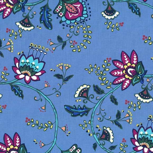 Dilly Dahlia Collection by Michael Miller - Moon Flower Vine Periwinkle  - Yardage Y2101KFT - Daz Fabrics