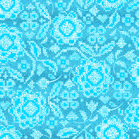 Blue Belle Collection  - Beloved - Vintage Teal Metallic - Yardage