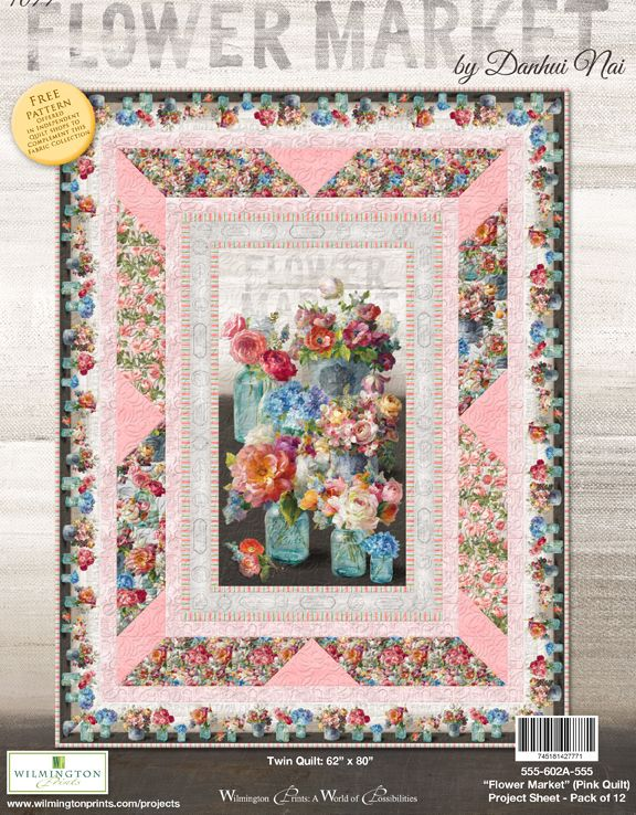Flower Market by Danhui Nai - Twin Quilt Pink - Click Link (IN RED) Below to Receive Free Pattern - Daz Fabrics