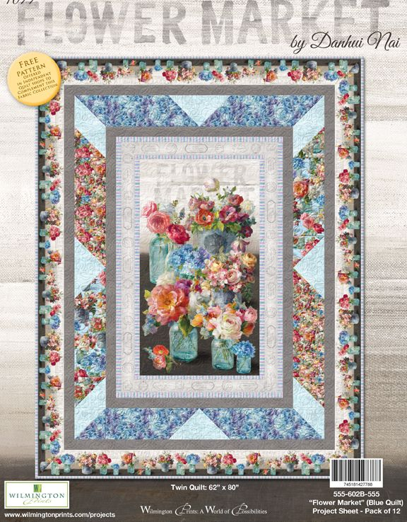 Flower Market by Danhui Nai - Twin Quilt Blue - Click on RED LINK in Product Description, below Paypal button,  to receive pattern - Daz Fabrics