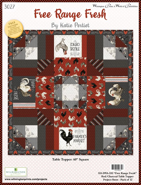Free Range Fresh Table Topper Free Pattern Red - Click on RED LINK in Product Description, below Paypal button,  to receive pattern - Daz Fabrics