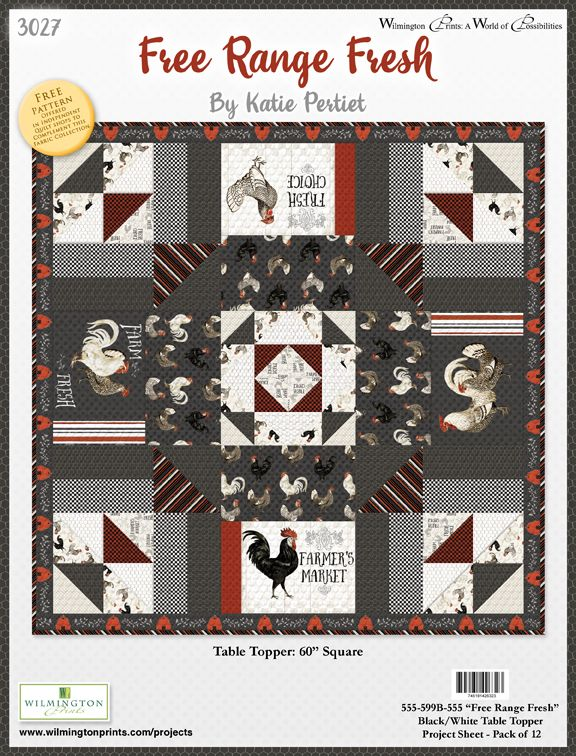 Free Range Fresh Table Topper Free Pattern Gray - Click on RED LINK in Product Description, below Paypal button,  to receive pattern - Daz Fabrics