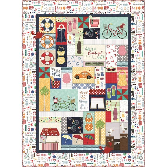 Vintage Boardwalk Embroidery Version Quilt Kit - Daz Fabrics