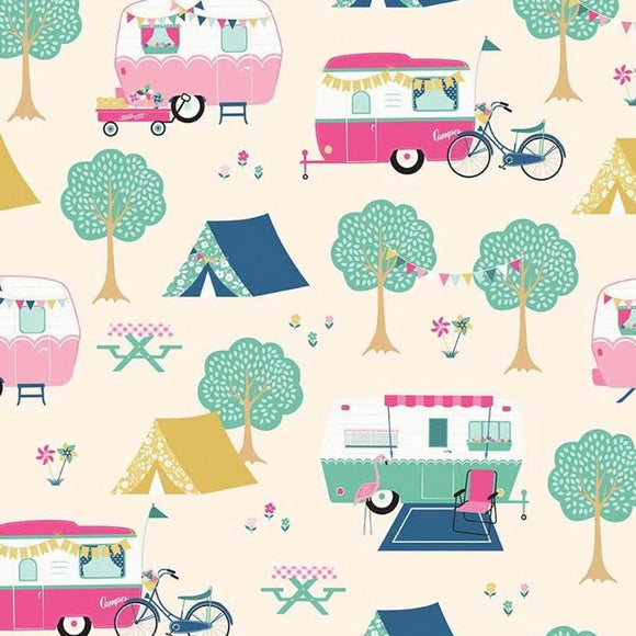 I'd Rather Be Glamping by Dani Mogstad - Main Cream - Yardage - Daz Fabrics