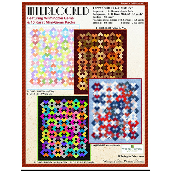 Interlocked Throw Quilt -  Click on RED LINK in Product Description, below Paypal button,  to receive pattern - Daz Fabrics