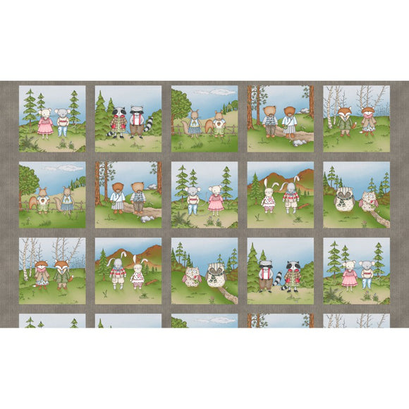 Forest Friends Collection by Kris Lammers - Forest Friends Squares  - Panel - Daz Fabrics