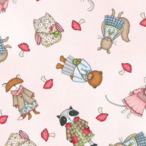 Forest Friends Collection by Kris Lammers - Girl Friends Pink - Yardage - Daz Fabrics