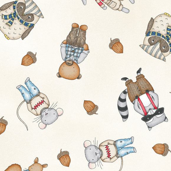 Forest Friends Collection by Kris Lammers - Guy Friends Natural - Yardage - Daz Fabrics