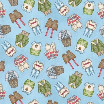 Forest Friends Collection by Kris Lammers - Boy Clothes Blue - Yardage - Daz Fabrics