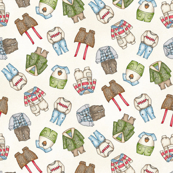 Forest Friends Collection by Kris Lammers - Boy Clothes Neutral - Yardage - Daz Fabrics