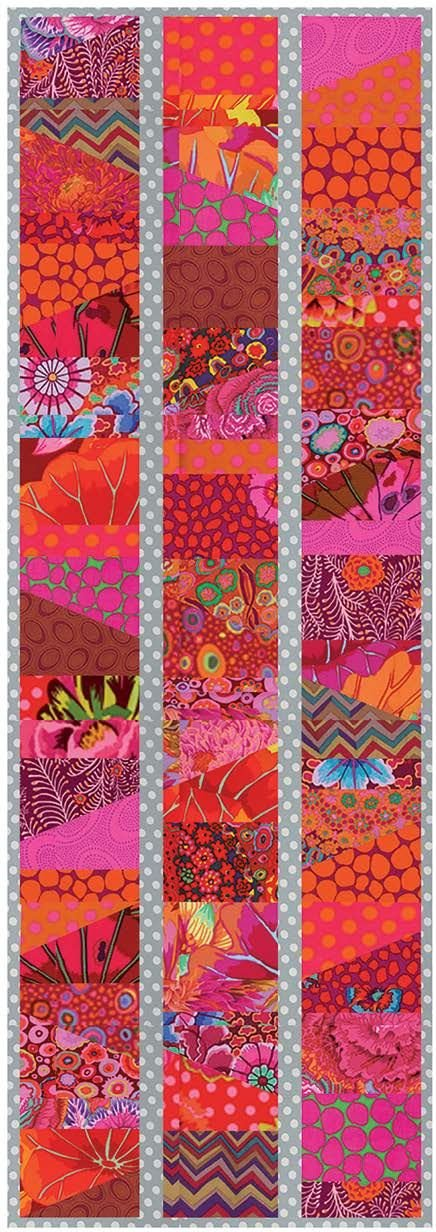 Kaffe Fassett for FreeSpirit - Sliced Charm Runner - Lipstick - 15