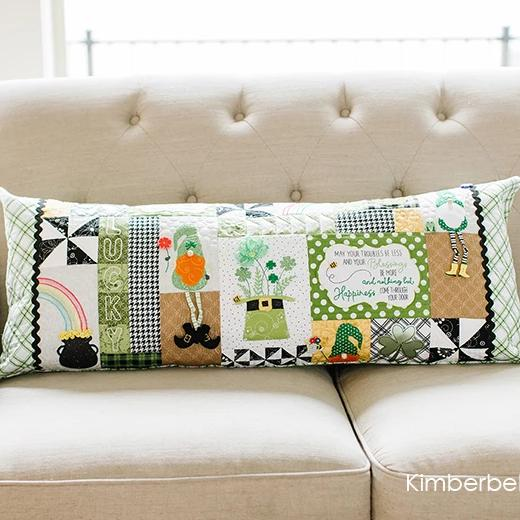 KimberBell - Luck Of The Gnome - St. Patrick's Day Bench Pillow - Pattern T30 - Daz Fabrics