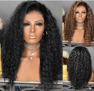 Brown&Black Wave Curl Long Wig