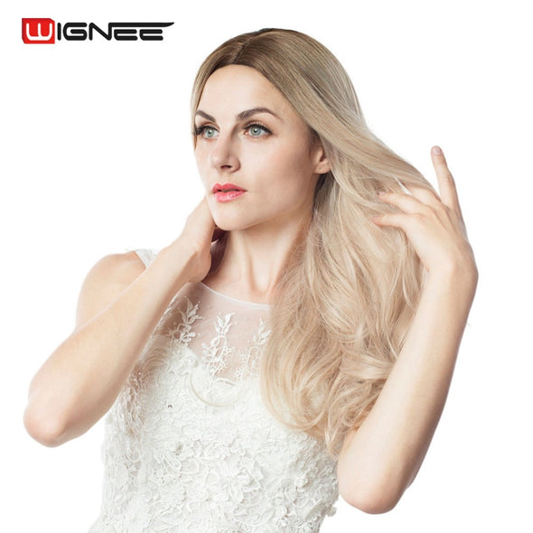 Wignee Long 2 Tone Ombre Brown Ash Blonde Temperature Synthetic Wigs For Black/White Women Glueless Wavy Daily/Cosplay Hair Wig