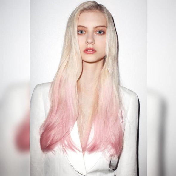 Gradient  Pink Wig Long Straight Hair