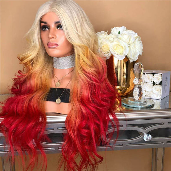 Golden Red Gradient Wavy Long Wigs