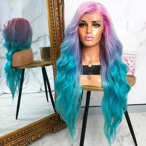 2021 Pink Green Gradient Hair Long 3-Color Wavy Wig