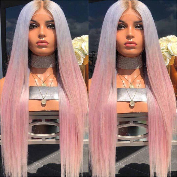 Gradient Pink Hair Straight Long Wig