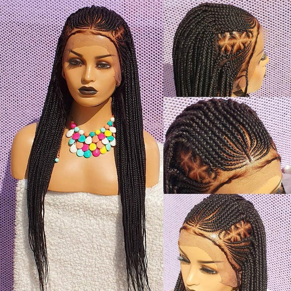 100% Hand-Braided Cornrow Wig, Black Women Xmas gift
