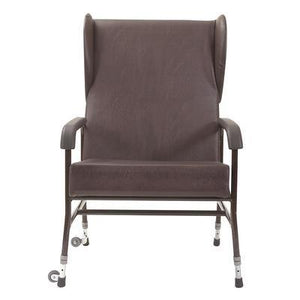 Adjustable Metal Framed Chair with Wings - Extra Wide - Brown Vinyl