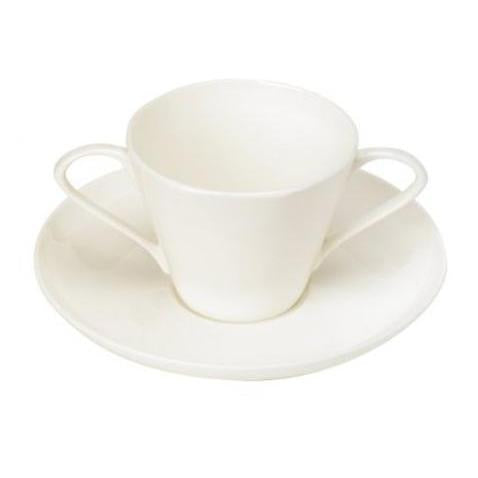 Bone-China Two Handled Cup & Saucer