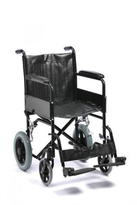 Budget-Steel-Transit-Wheelchair-with-Solid-Tyres Budget Steel Transit Wheelchair with Solid Tyres