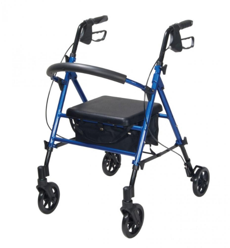 Compact-Height-Adjustable-Rollator Red