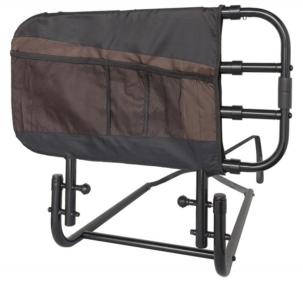 EZ-Adjust-Bed-Rail-with-Pouch Brown
