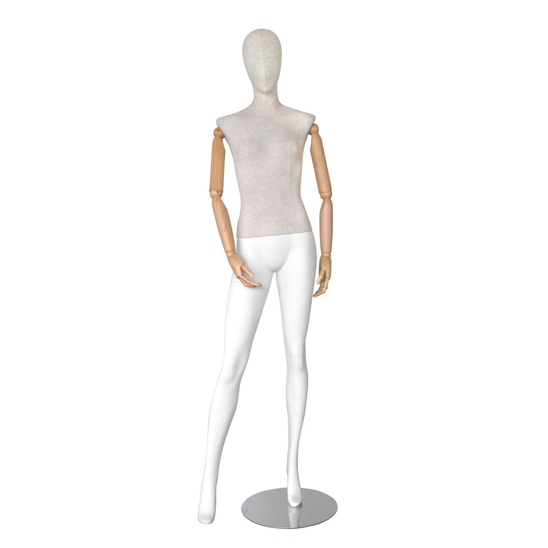 SHMB7 Female White Linen Fiberglass Full Body Mannequin