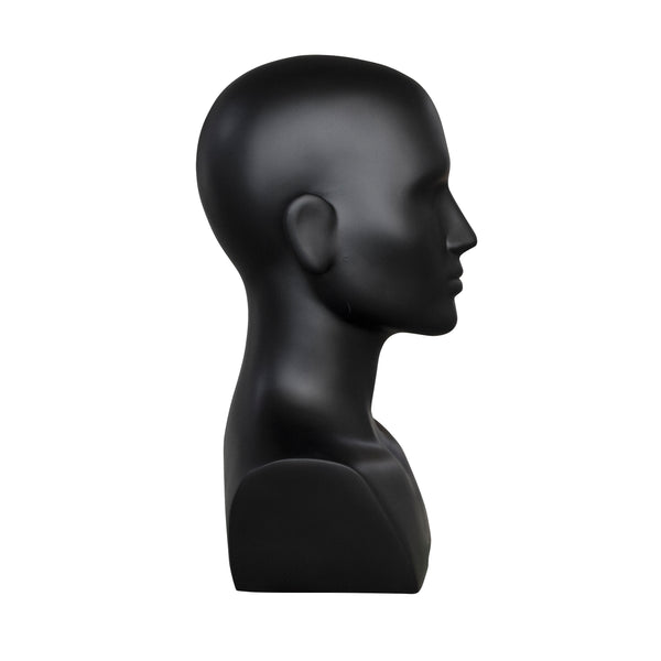 MHB03 Male Head Bust Mannequin in Matt Black