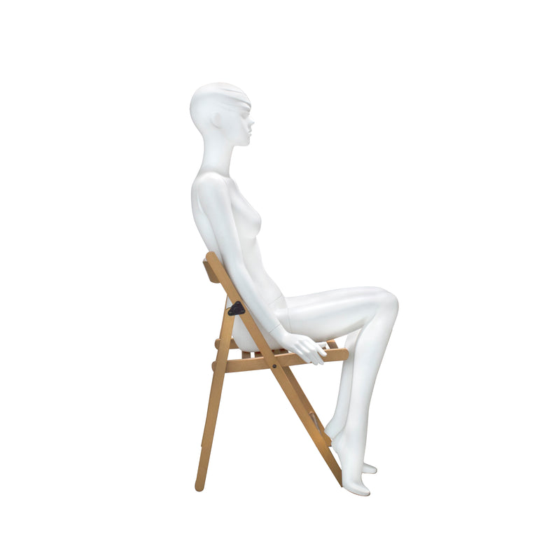 AB2 Seated Female Matt White Mannequin with Face