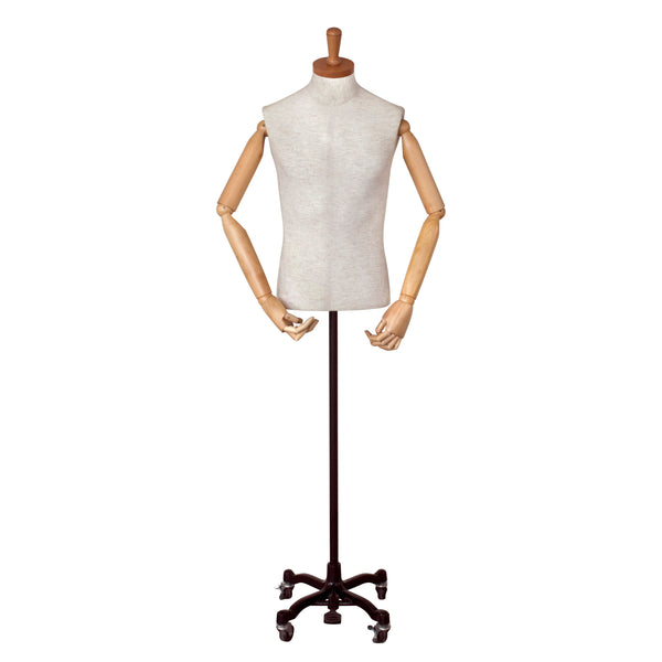 MFM01 Male White Linen Fabric Torso with Wooden Cap & Arms