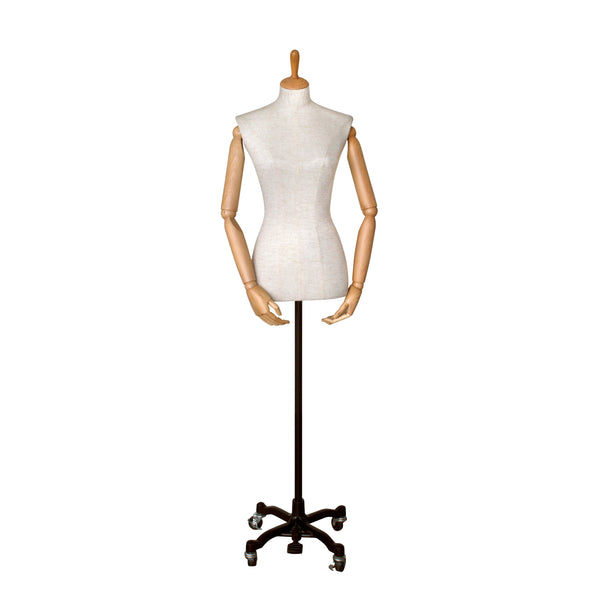 FFG02 Female White Linen Fabric Torso with Wooden Cap & Arms