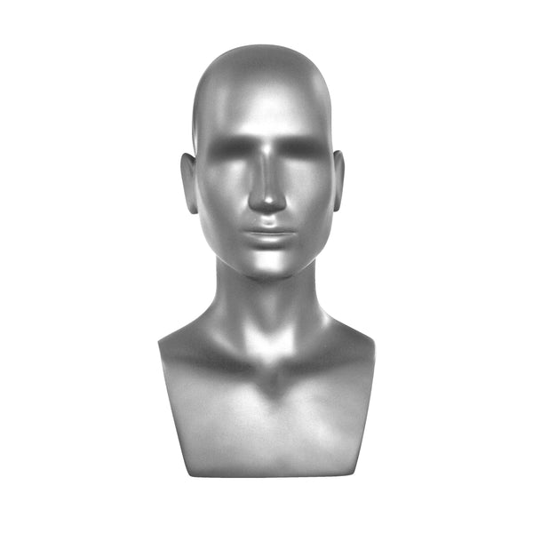 MHB02 Male Head Bust Mannequin in Silver