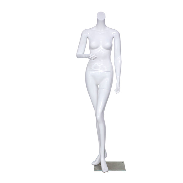 B1 White Gloss Female Mannequin Headless