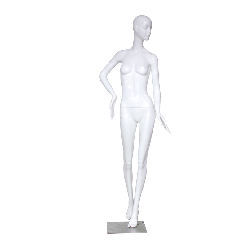 B5 White Gloss Standing Female Mannequin with Face