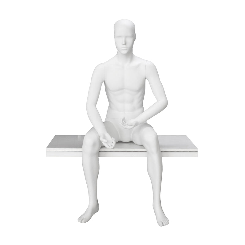 BH-M9YH Male Matt White Seated Mannequin