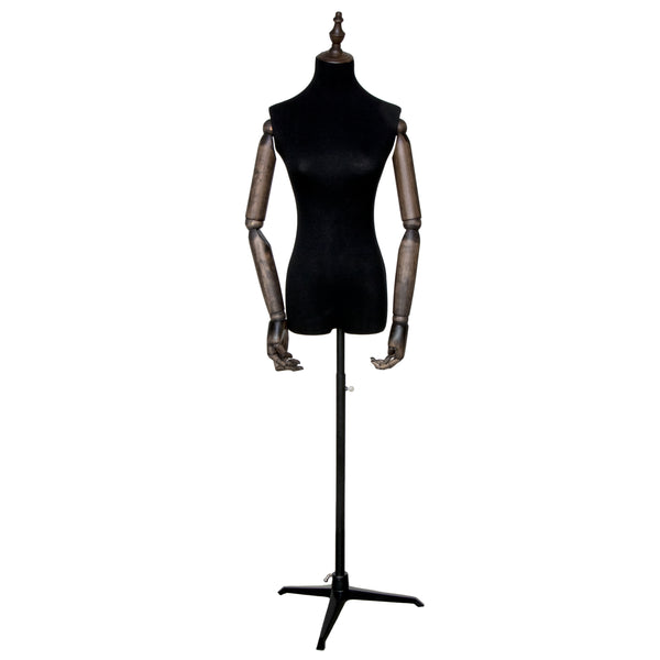 FTA3 Female Black Torso with Wooden Arms