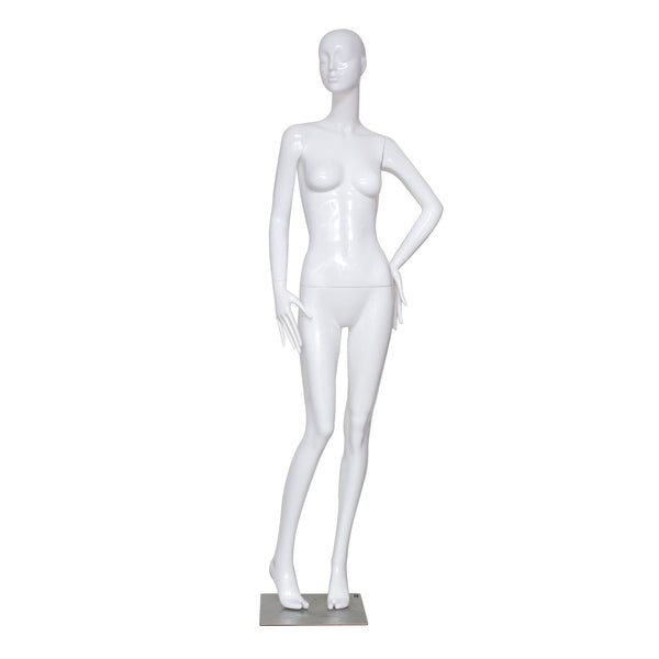 F6 White Gloss Female Mannequin with Face