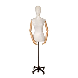 FFG02 Female White Linen Fabric Torso with Head & Arms