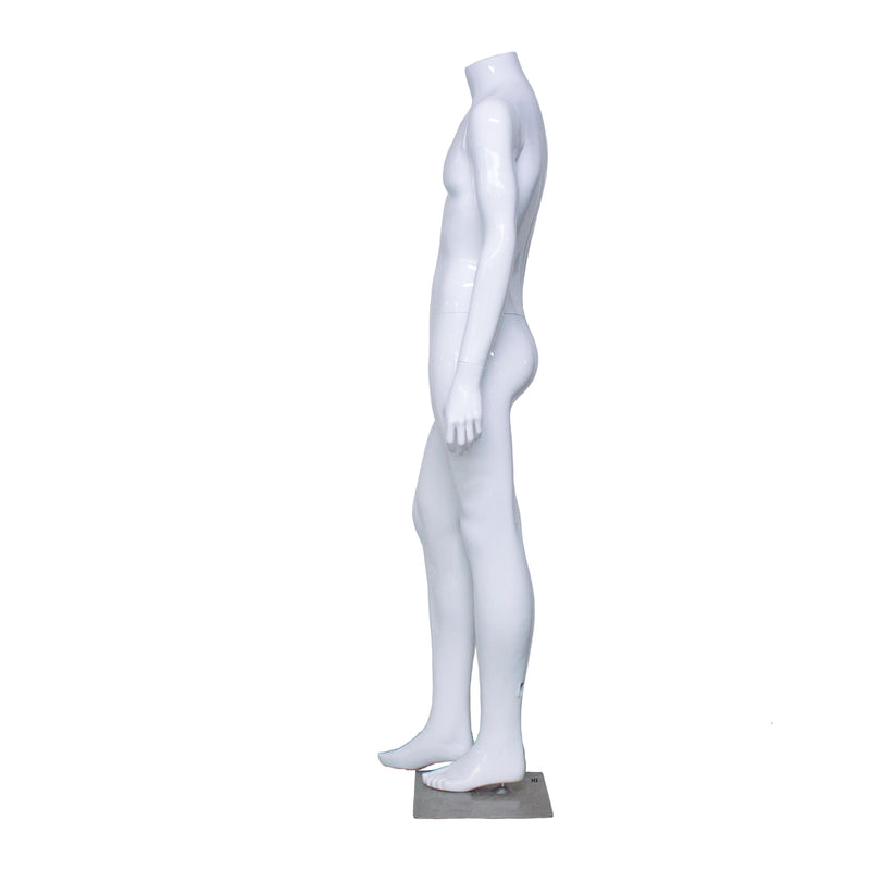 H3 Male White Gloss Headless Mannequin