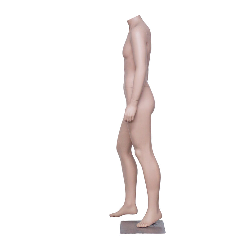 HB4 Full Body Matt Skin Colour Standing Male Mannequin Headless